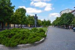 Groen stadsvierkant in Mukachevo, de Oekraïne op 14 Augustus, 2016 Royalty-vrije Stock Fotografie