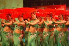 Groen theemeisje dans-2007 Jiangxi-het Feest van het de Lentefestival Royalty-vrije Stock Fotografie
