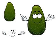 Groen tropisch het beeldverhaalkarakter van het avocadofruit Stock Afbeelding