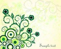 Groen uitstekend bloemenontwerp Stock Afbeelding