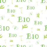 Groen van letters voorziend naadloos patroon Het organische brandmerken voor behangbehang bio Royalty-vrije Stock Fotografie