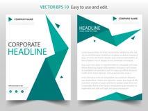 Groen veelhoekig abstract Vector van de het Pamfletvlieger van het Brochure jaarverslag het malplaatjeontwerp, de lay-outontwerp  Stock Fotografie