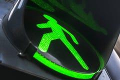 Groen verkeerslicht voor voetgangers Stock Afbeelding