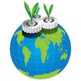 Groen verlof met de vector van het toestelconcept Royalty-vrije Stock Afbeelding