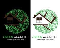 Groen vlak het embleemontwerp van Woodhill stock illustratie