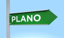 Groen voorzie plano van wegwijzers Stock Foto