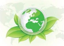Groen wereld en ecoconcepten vectorontwerp Stock Foto