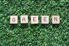 Groen woord met houten brieven op synthetisch gras stock afbeelding