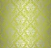 Groen & zilveren uitstekend behang Royalty-vrije Stock Fotografie