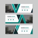 Groen zwart driehoeks abstract collectief bedrijfsbannermalplaatje, het horizontale malplaatje reclame van de bedrijfsbannerlay-o Stock Afbeelding