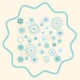 Groenachtig Blauw Ornament op Lichte Beige Achtergrond Stock Foto's