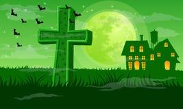 Groenachtige Halloween-nachtachtergrond Royalty-vrije Stock Afbeelding