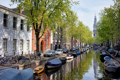 Groenburgwal Canal in Amsterdam Stock Image
