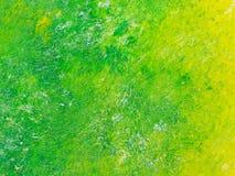Groene aan gele olieverfschilderijtextuur Stock Foto's