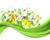 Groene aardachtergrond De illustratie van het Ecoconcept met pijlen Royalty-vrije Stock Afbeelding