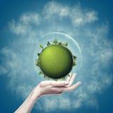 Groene Aarde in vrouwelijke hand Stock Afbeeldingen