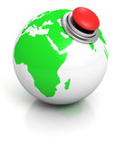 Groene aardebol met rode alarmknoop Royalty-vrije Stock Afbeelding