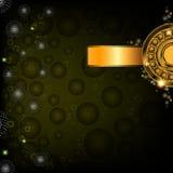 Groene abstracte achtergrond met gouden banner Stock Foto's