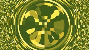 Groene abstracte achtergrond, opvlammende cirkels en vierkanten, lijn Rimpelings Digitale achtergrond van de vele groene vierkant stock video