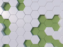 Groene abstracte 3d hexagon achtergrondbijenbijenkorf Stock Foto's
