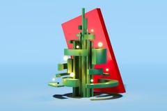 Groene abstracte Kerstmisboom op lichtblauwe achtergrond het 3d teruggeven stock illustratie
