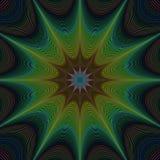 Groene abstracte kleurrijke gebogen sterfractal Royalty-vrije Stock Fotografie