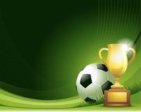 Groene abstracte Voetbalachtergrond met bal en trofee Stock Foto
