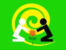 Groene achtergrond de tussen verschillende rassen van de Ecoecologie royalty-vrije illustratie