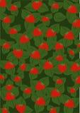 Groene achtergrond met aardbei Stock Afbeeldingen