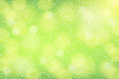 Groene achtergrond met bloemenkrullen royalty-vrije illustratie
