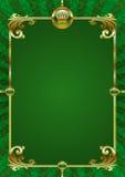 Groene achtergrond met gouden luxeframe Stock Foto's