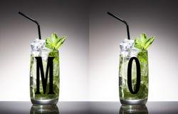 Groene alcohol, blad, munt, mojito, niemand, opruier, mixology, mojito, rum, smakelijke suiker, tequila, wodka, whisky royalty-vrije stock foto