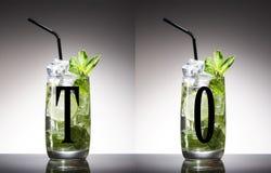 Groene alcohol, blad, munt, mojito, niemand, opruier, mixology, mojito, rum, smakelijke suiker, tequila, wodka, whisky royalty-vrije stock foto's