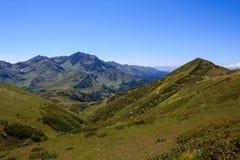 Groene alpiene weiden in de vallei in de Bergen van de Kaukasus royalty-vrije stock afbeeldingen