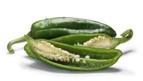 Groene Anaheim Spaanse pepers, wegen Stock Fotografie