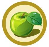 Groene appel in de cirkel Royalty-vrije Stock Afbeeldingen