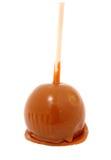Groene Appel die in karamel, het knippen weg wordt behandeld Stock Afbeelding