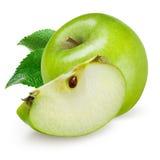 Groene appel die op witte achtergrond wordt geïsoleerde Stock Foto