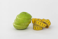 Groene appel en metingsband Stock Foto