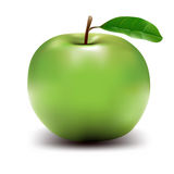 Groene Appel - Hoog onderzoek dat in vector wordt getrokken Stock Afbeelding