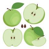 Groene appel Inzameling van gehele en gesneden groene appelvruchten Royalty-vrije Stock Foto's