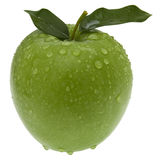 Groene appel met bladeren. Geïsoleerdr Stock Fotografie