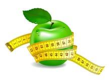 Groene appel met het meten van band Stock Illustratie