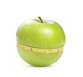 Groene appel met meting Stock Fotografie