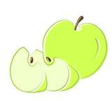 Groene appel met segmenten. Vector. Stock Foto