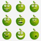 Groene appel met vele uitdrukkingen Royalty-vrije Stock Afbeelding