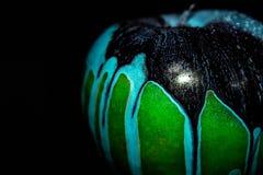 Groene appel op zwarte achtergrond stock foto
