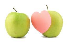 Groene appel twee met sticker Royalty-vrije Stock Afbeeldingen