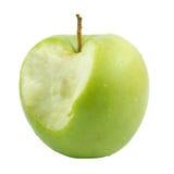 Groene appelbit. Geïsoleerde over wit. Royalty-vrije Stock Foto