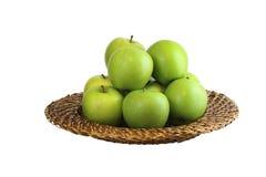 Groene appelen in een kom Stock Foto